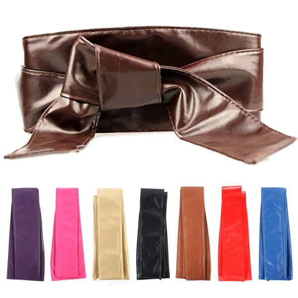 Womens Soft PU Faux Leather Tie Wrap Around Waist Band Cinch Corset Belt New(China (Mainland))