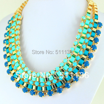 New Arrival 2013 Hot Sale Multi Layer Neon Ribbon Wrapped BIB Woven Necklace Acrylic Statement Necklaces KK-SC203 free shipping
