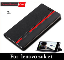 Hot selling Case for Lenovo Zuk Z1 Ultra thin Leather flip cover for Lenovo ZUK Z1 back case with Stand+screen glass film