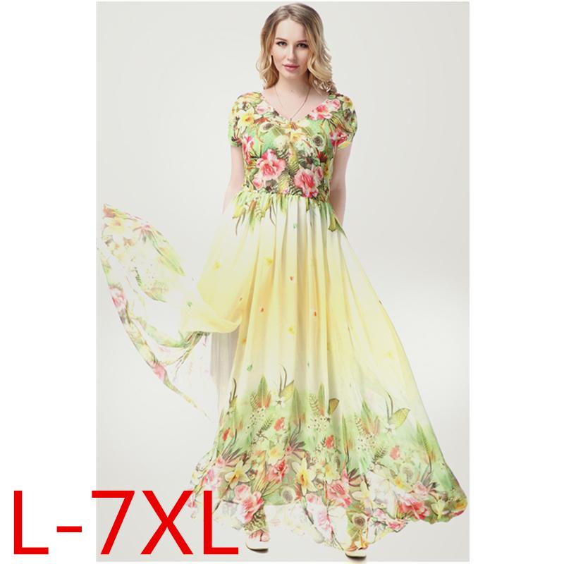 2016 Womens Summer Print Beach Chiffon Dress Big Sizes Elegant Cute Maxi Long Dresses Plus Size 6XL 7XL Vestidos 9005(China (Mainland))