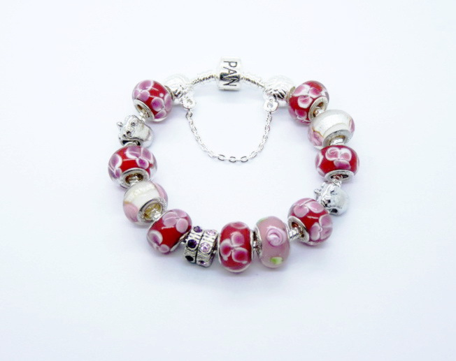 925 Stamped silver plated jewelry charms bracelet bracelet.clear crystal beads PP1105 - Fashion shop (925 store)