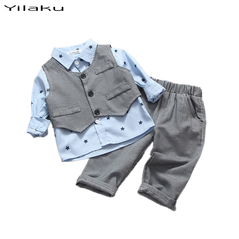 2016 Baby Boy Outfits Newborn Baby Boys Clothing Set Children Stars Shirt+Vest+Pants Suit Baby Clothes Sets Infant Clothing(China (Mainland))
