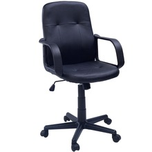 Promotion Black Office Swivel Chair Faux Leather Computer Work Desk Low Back Furniture NEW Free shipping CB10055(China (Mainland))