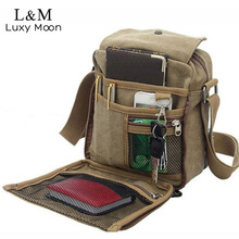 Men Canvas Messenger Bag Casual Travel Bag Vintage Brand Briefcase Mini Men's Cool Shoulder Crossbody Bags Brown Bolsa XA383H(China (Mainland))