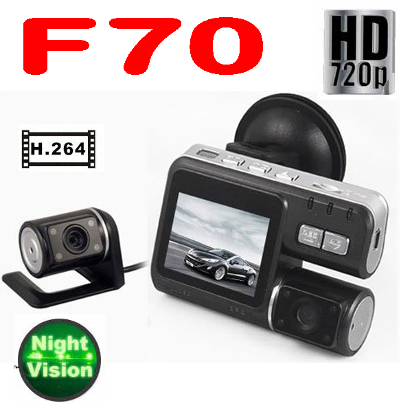 50% плата 5 штук автомобиль DVR двойное стекло F90 HD 720 p G - датчик H.264 дополнительного AV-IN автомобиль камера видео рекордер 4-LED / 2,0 '