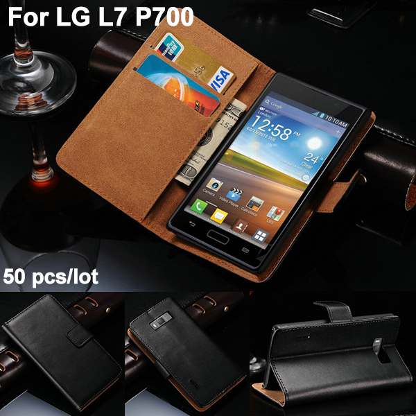 50 pcs/lot Genuine Leather Wallet Case For LG P705 Optimus L7 P700 With Stand Phone Bag Flip Style With 3 Card Holder Brand New