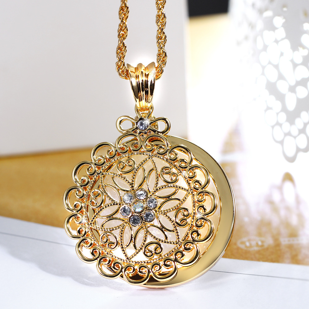 2017 New look Top Sell Flower Reading Glass Crystal White Gold Plated Trendy Gift Women Brand Pendant Fashion Necklace Magnifier(Hong Kong)