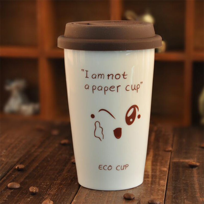 Factory Price 350ml White Cartoon Mugs Eco-friendly Ceramic Cups with Silicone Lid, JSF-Cups-005(China (Mainland))