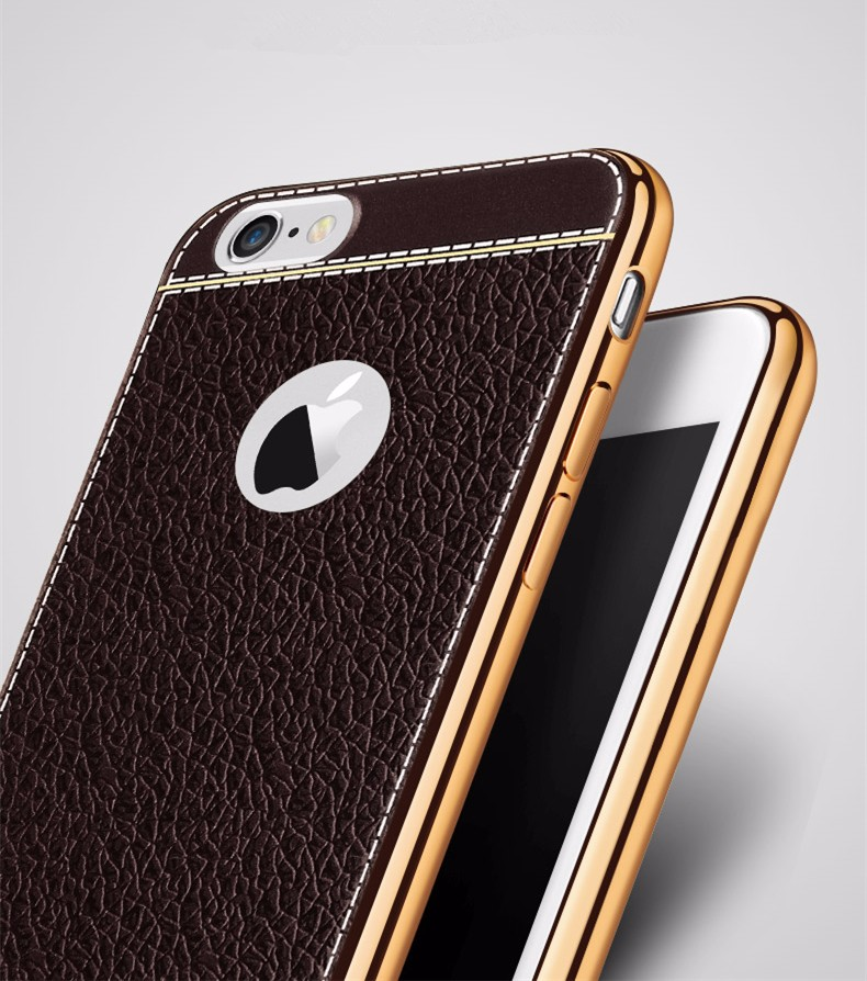 Luxury Leather Skin Back Phone Covers For iPhone 6S Retro Plating Soft TPU Case For Capinha iPhone 7 Plus Silicon Mobile Cases