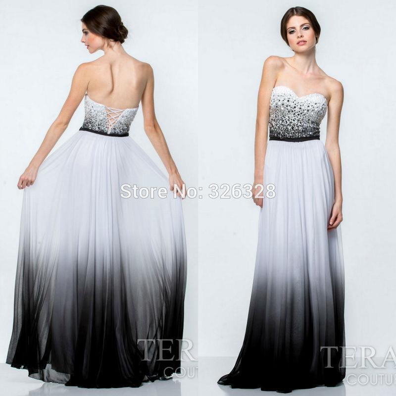 Black and white floor length evening dress