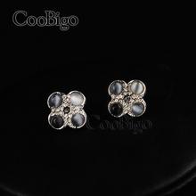 300 pairs Fashion Jewelry Cat Eye Stone Flower Shape Stud Earring Women Engagement Praty Show Gift Promotion Accessories #FJ141E(China (Mainland))