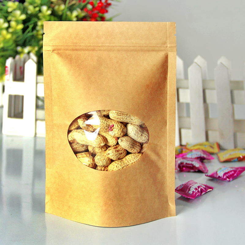 100pcs/lot 17cm*24cm +4cm High Quality Kraft Paper Stand Up Pouch Bag Laminating Pouches Food Bags(China (Mainland))