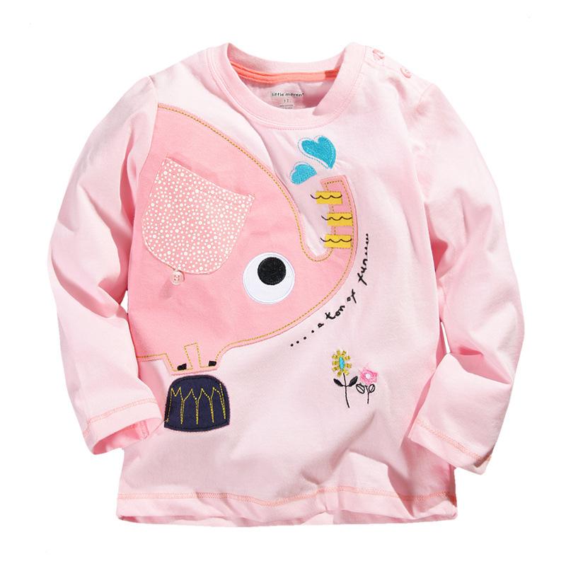 Children Girls 100% Cotton Tops Kids Clothes Pocket Long Sleeve Tshirts Elephant Printing T-Shirts Baby T shirt Clothing CTX065(China (Mainland))