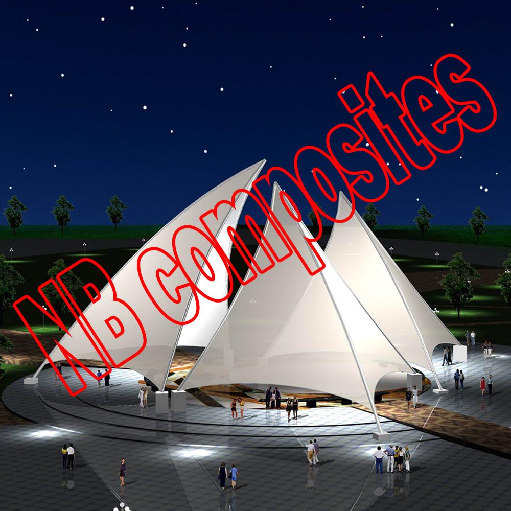 fiberglass fabric membranous PTFE coated teflon roofing material(China (Mainland))