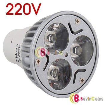 New MR16 220V GU5.3 3W Warm White 3 LED Spot Light Lamp Bulb #3468