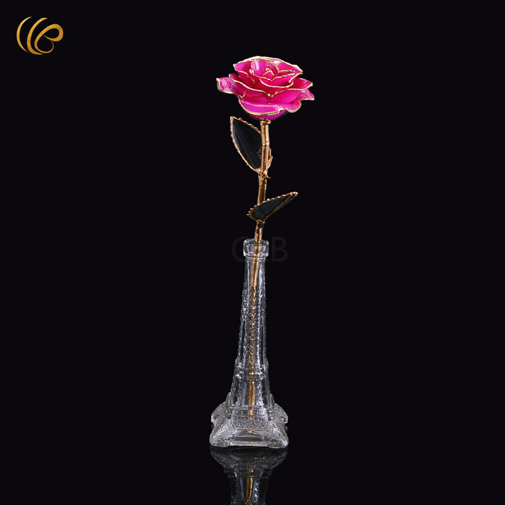 Wedding Decoration Gold Dipped Real Rose Rose Wedding Favor Real Long Stem  Rose Gold Dipped With Love Stand Nice Gifts