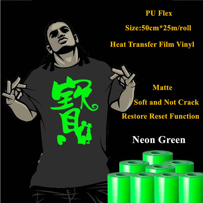 Heat Transfer Vinyl For Clothing Neon Green Heat Press Film for t shirt PU Heat Transfer Film Vinyl 50cm*25m/roll 20''*25yd(China (Mainland))