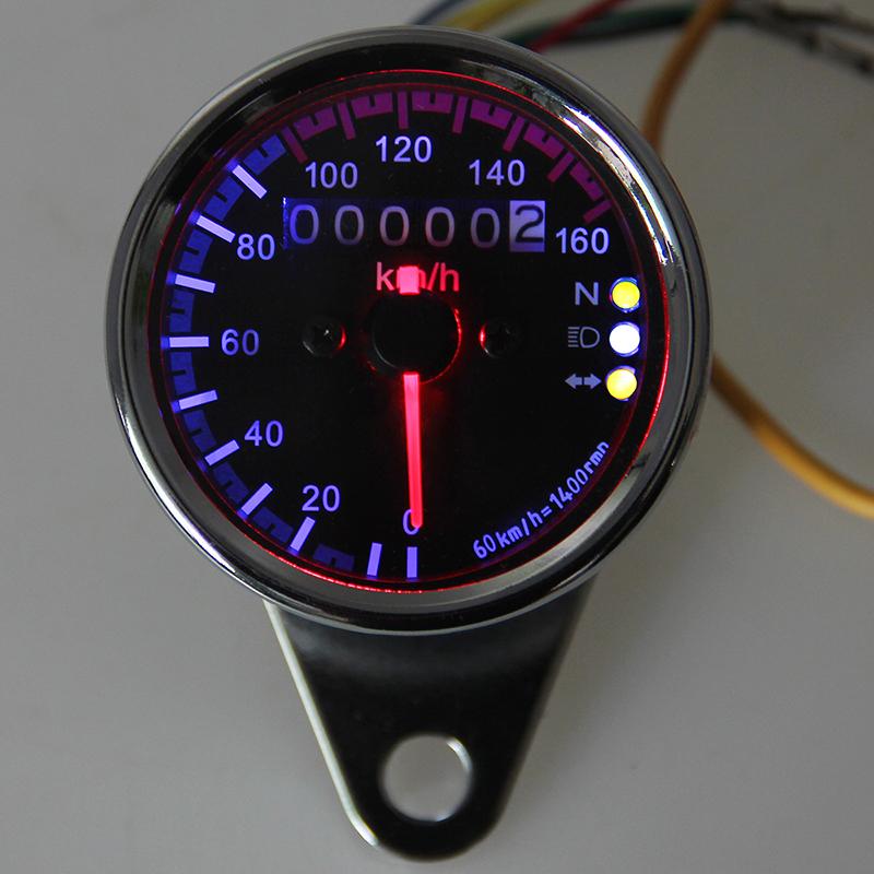 Universal Motorcycle Odometer Speedometer Odometer Gauge LED Backlight Signal Light Digital Speedometer DC 12V 0-160km/h(China (Mainland))