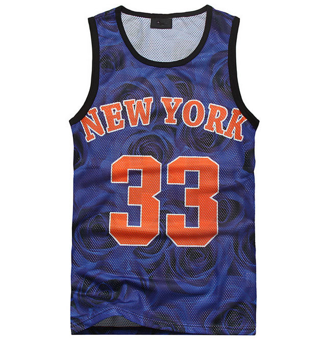 2015 New fashion men's manga 3D Blue floral print vest top NEW YORK 33 Nicks basketball jersey tank top men Free shipping(China (Mainland))