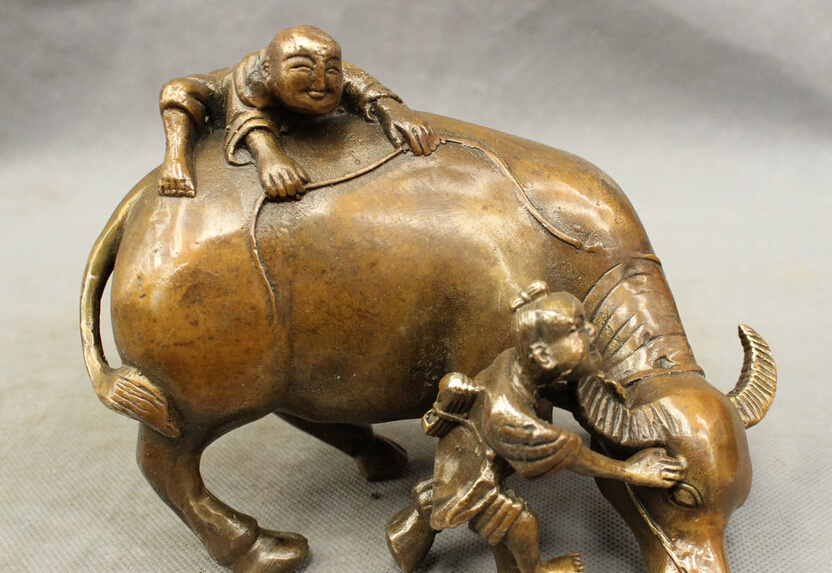 song voge gem S3630 Lucky Chinese Bronze Copper Fengshui Zodiac Bull Oxen Kid Boy Statue Sculpture(China (Mainland))
