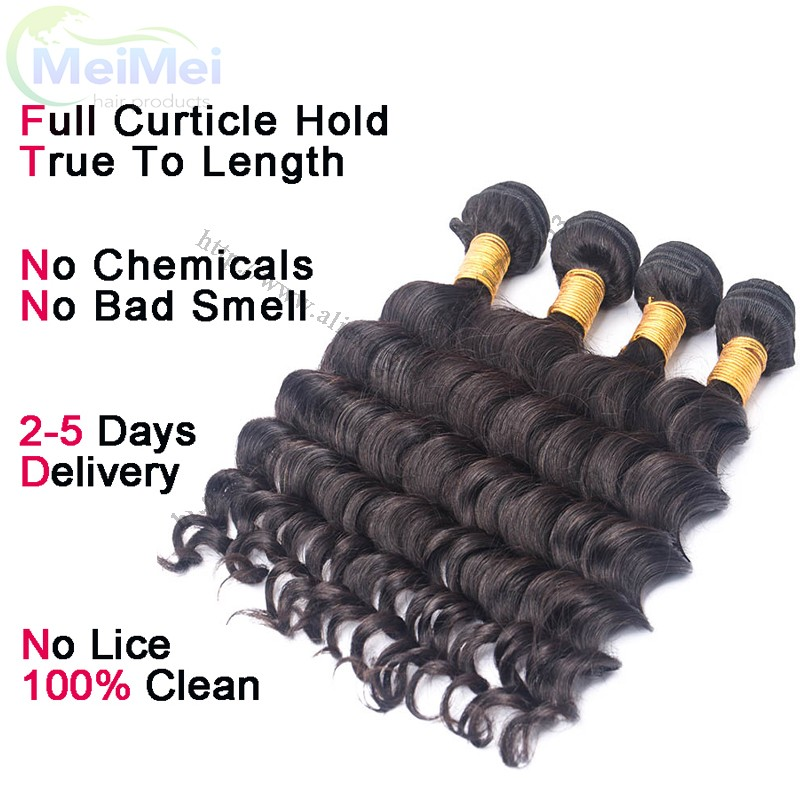 7A Peruvian Loose Deep Hair Bundles 4 Bundles Deal MeiMei Hair Products Virgin Peruvian Deep Loose Wave