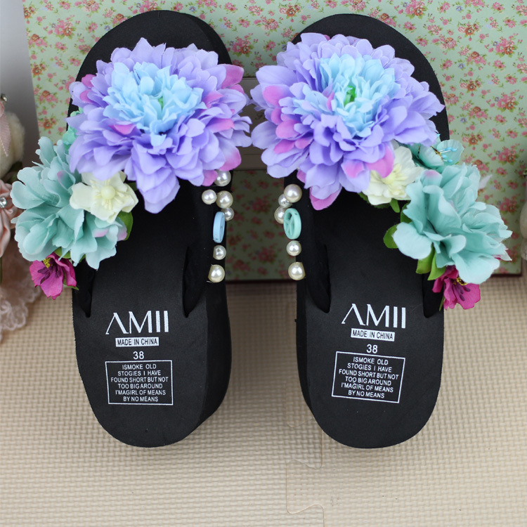 2015 Summer Beach Handmade Flower Flip Flops Platform Wedges Female Women's Slippers Slip-resistant Sandals Shoes(China (Mainland))