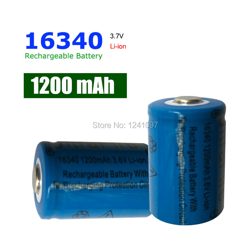 2X CR123A 16340 Rechargeable Battery 3.7v 1200 mAh Lithium li-ion batteries for Flashlight laser303 Rechargeable(China (Mainland))