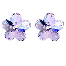 2015 Free Shipping Women Flower Crystal Stud Earrings Made With Austria Crystal Elements Silver Plated(China (Mainland))