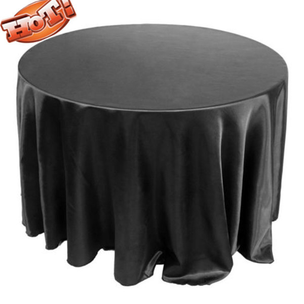 10pcs Black Satin Cheap Round Tablecloths For Weddings 90'' round wedding table cloth(China (Mainland))