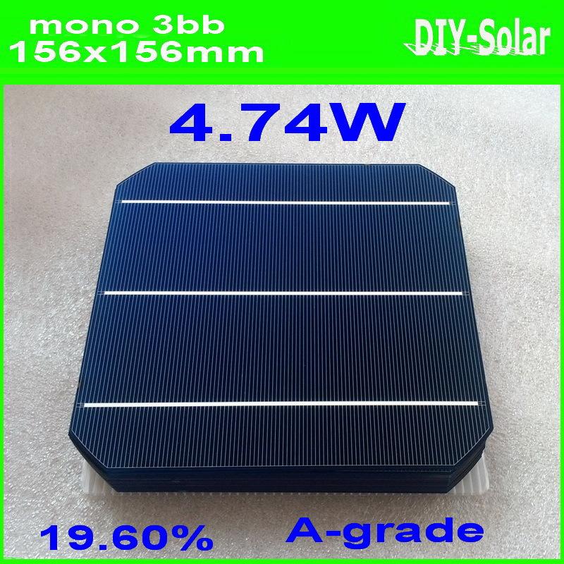 50pcs/lot 4.6W 156mm mono solar cells 6x6+150feet Tabbing Wire+15feet Busbar Wire+1pc flux pen for DIY making 230w solar panel<br>
