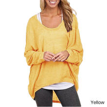 Women Spring Autumn Pullover T-Shirts Solid Casual Knitted Bat Sleeve O-Neck Loose Tees Fashion Long-Sleeved Tops Black White(China (Mainland))