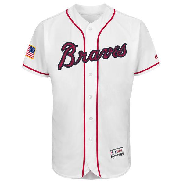 Atlanta Braves 2016 MLB Fashion Stars & Stripes Flex Base Team Jersey - White Baseball Jerseys(China (Mainland))
