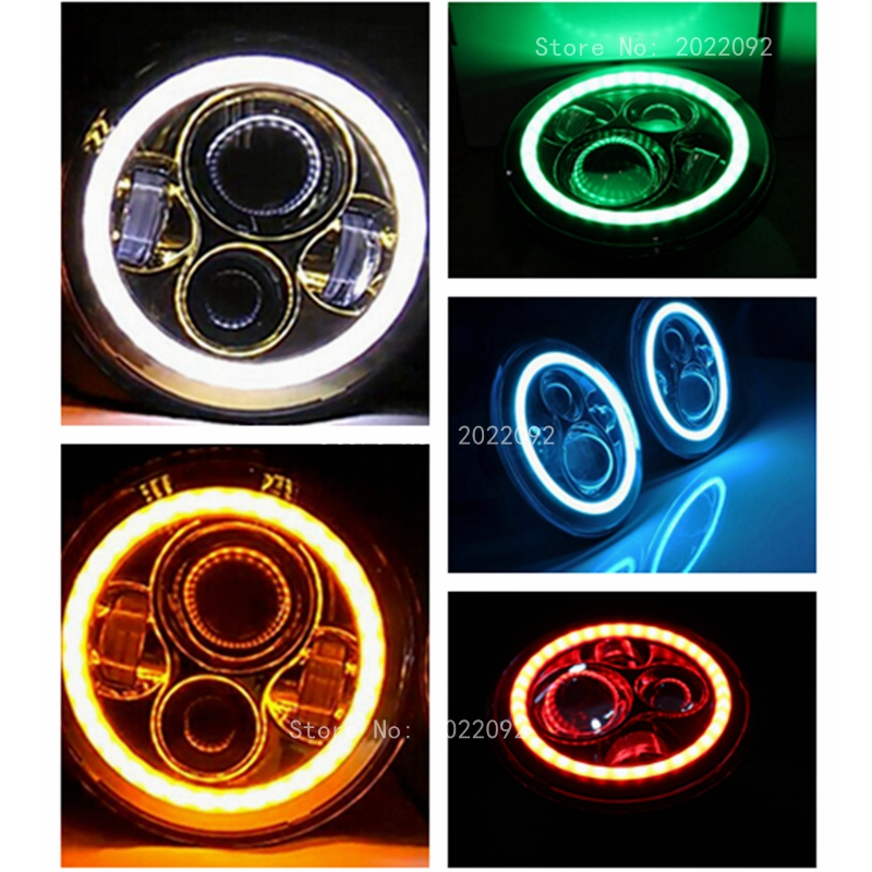 """Фотография Harley 7"""" Round LED Projection Daymaker Headlight with halo ring angle eye for Harley Motorcycles led headlight bulb"""