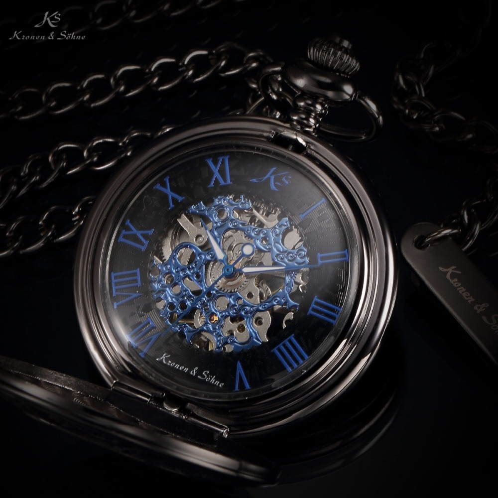 KS Brand Retro Blue Roman Skeleton Relogio De Bolso Men Hand Wind Mechanical Watch Necklace Clock Male Fob Pocket Watch / KSP032(China (Mainland))