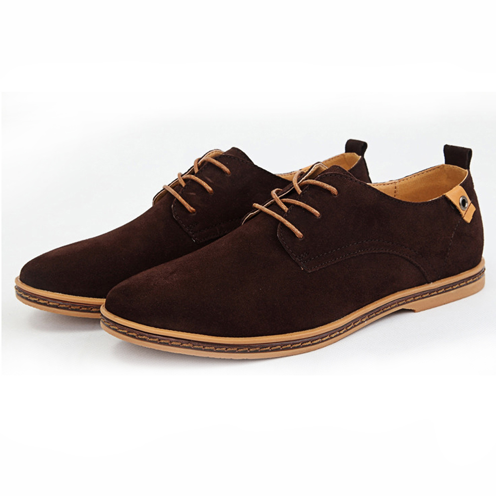 New Men Shoes Suede Leather Fashion Flat Shoes Casual Low Men Oxford Shoes Men Leather Shoes ...