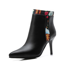 WETKISS Baskı Ayak Bileği Kadın Çizmeler Sivri Burun Ayakkabı Yüksek Topuklu Kadın Çizme Zip Ayakkabı Kadın 2018 Kış Artı Boyutu 33 -47(China)