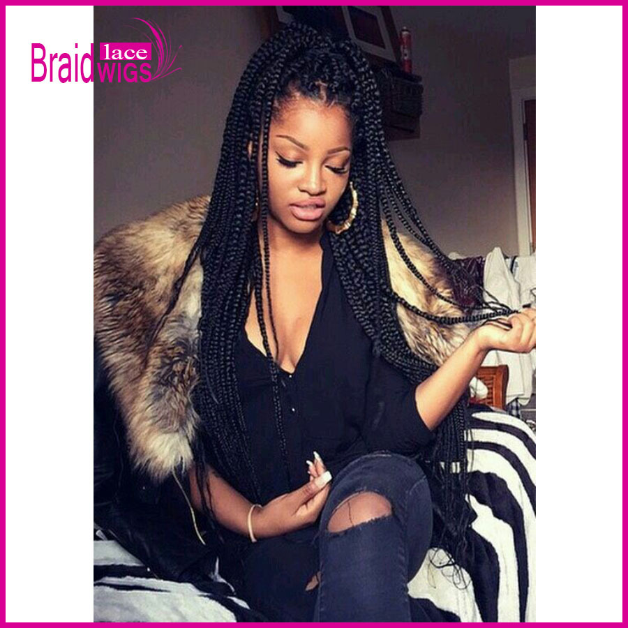 Hair Box Braids Lace Front Wigs Heat Resistant Micro Braided Wigs Best