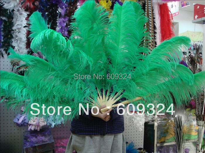 Kelly GREEN Ostrich Feathers Fan hand made for costumes(China (Mainland))