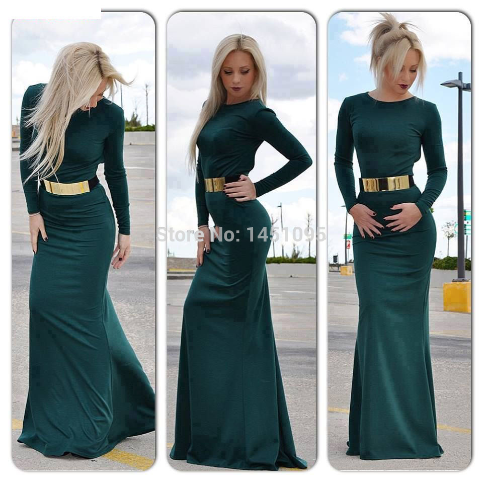 Long Sleeve Fitted Dresses