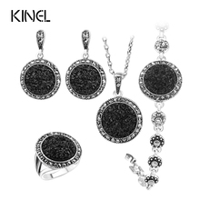 Hot 4pcs Black Broken Stone Wedding Jewelry Sets Earrings For Women Unique Bohemia Silver Plated Jewelry Engagement RingRing(China (Mainland))