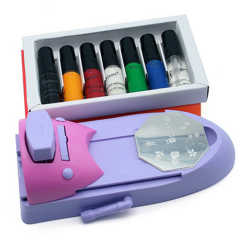 1Set Nail Art DIY Pattern Printing Set Professional Salon Nail Decoration Design Template Machine for Women(China (Mainland))