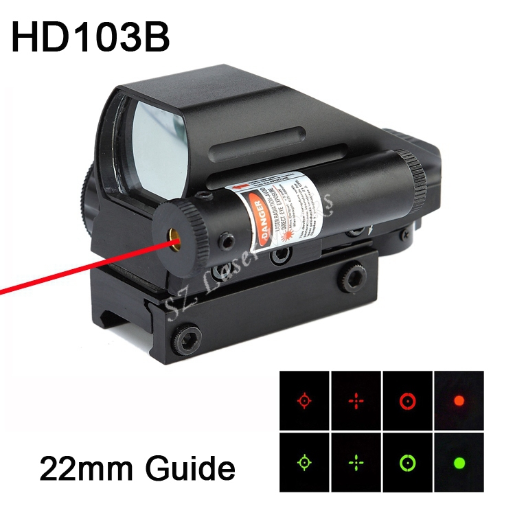 Free Shipping 1x22x33mm red and green dot reflex sight scope built-in red laser suit 22mm guide for airgun rifle scope #HD103B(China (Mainland))
