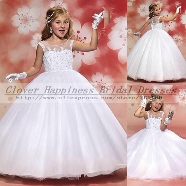 2015 Elegant Lace First Communion Dresses White Vintage Ball Gown Flower Girl Little Girls Pageant - Ebelz Weeding Dress Design store