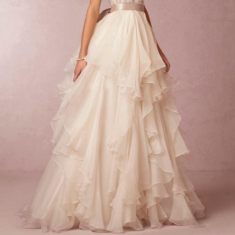 Ivory chiffon satin ribbon waistline floor length over for Ivory satin wedding dress