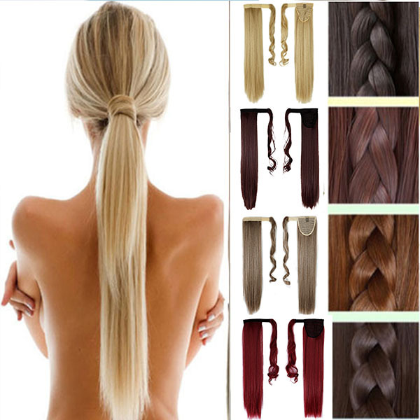 24inch Mix Colors Natural as Real Long Straight Clip In Warp Around Ponytail Hair Extension hairpiece pony Tail Hair Pieces New<br><br>Aliexpress