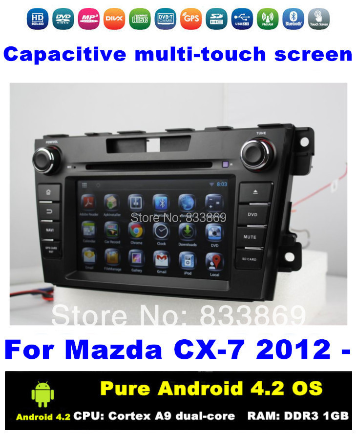 "HD 2 din 7 ""Pure Android 4.2 Car DVD Car PC for Mazda CX-7 2012 With BT 3G/WIFI GPS CPU: Cortex A9 dual-core 1.6GHz RAM:1GB DDR3(China (Mainland))"
