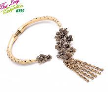 2015 New Arrival Luxury Statement Mental Flower Necklace Women Hotsale Jewlery Good Quality Jewelry 4581