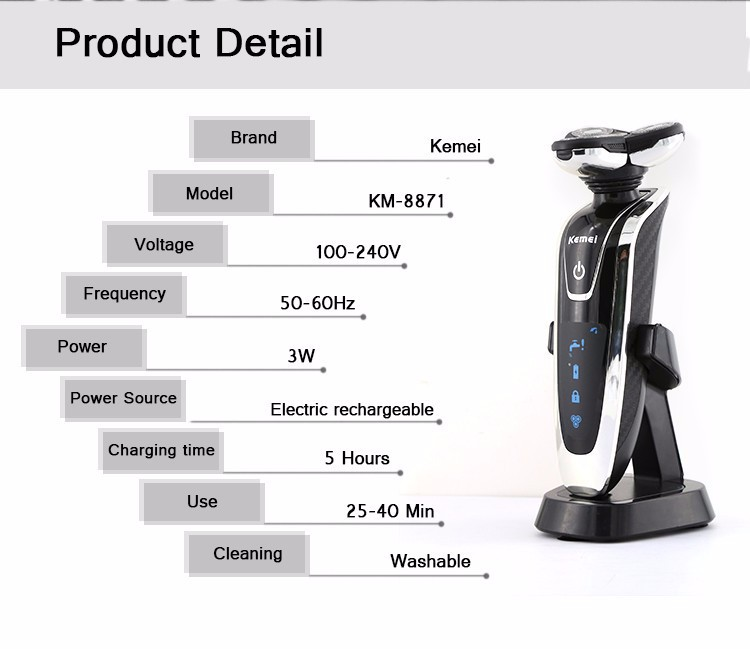 Buy Kemei 8871  Rotary 4 knife head whole body washing electric razor Rechargeable Electric Shaver Men face care shaver razor cheap