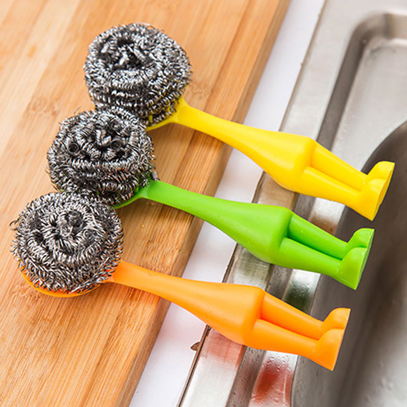 1PCS Useful Kitchen Pot Cleaning Wire Ball Amaranth Handle Scourer Home Plastic Soft Clean Brush Tools Sink Slit Toilet Corner(China (Mainland))