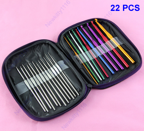 Set of 22Pcs Multi-color Aluminum Crochet Hooks Knitting Needles Weave Craft With Case Free Shipping(China (Mainland))
